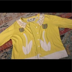 Fun yellow cardigan, field & flower/Anthropologie